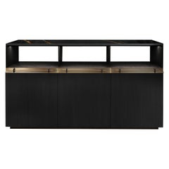 Asta Black Sideboard With Marble Top