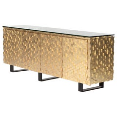 Astaire Credenza in Gold Leaf with Tempered Glass by Innova Luxuxy Group