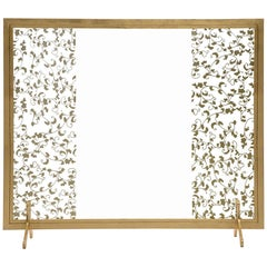 Astaire Fireplace Screen in Gold Leaf and Glass by Badgley Mischka Home