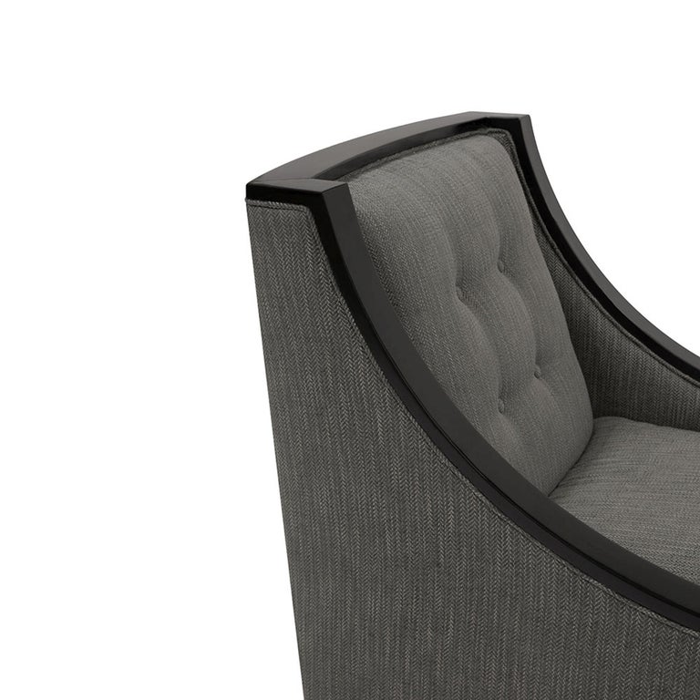 Mexican Astaire Lounge Chair II in Herringbone by Badgley Mischka Home For Sale
