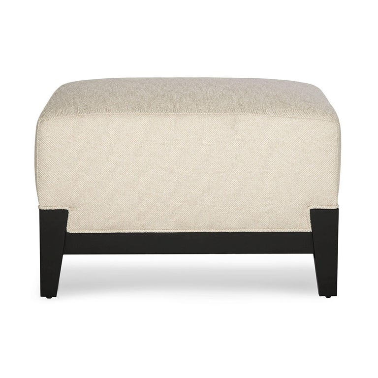 Modern Astaire Ottoman in Cream with Lacquered Ebony Legs by Badgley Mischka Home For Sale