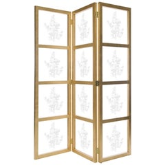 Astaire Room Screen in Gold Leaf & Glass by Badgley Mischka Home