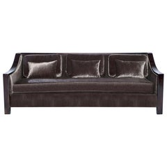 Astaire Sofa in Chocolate Velvet with Lacquered Frame by Badgley Mischka Home