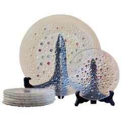 Asteroid Serving and Dessert Plates by Jan Sylwester Drost, Pressed Glass, 1970s