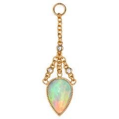 Asterope Single Ear Chain, Ethiopian Opal, Diamonds, 18 Karat Rose Gold