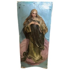 Astonishing 19th Century Porcelain Sculpted Madonna Wall Sculpture