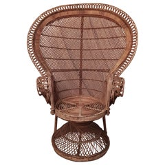 Mid Century Italian Peacock Armchair in Wicker