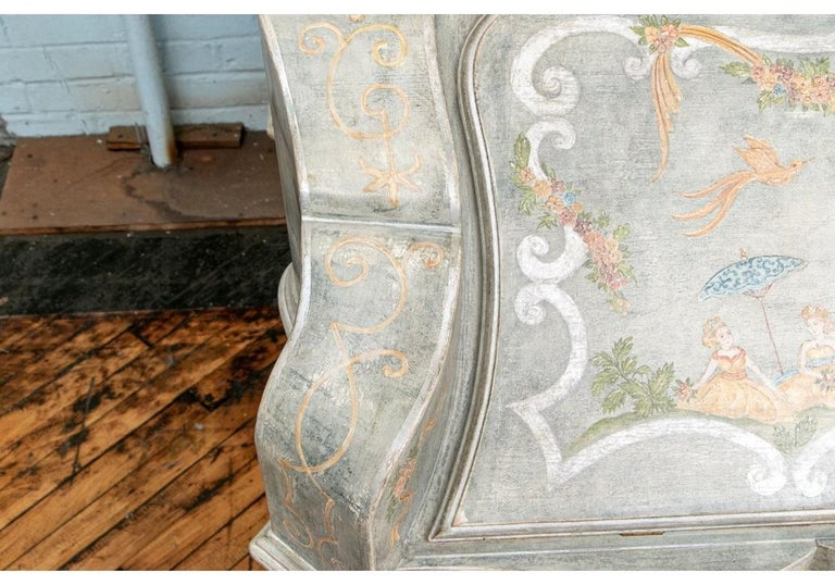 Astonishing Fine Paint Decorated Baroque Style Armoire Secretary For Sale 2