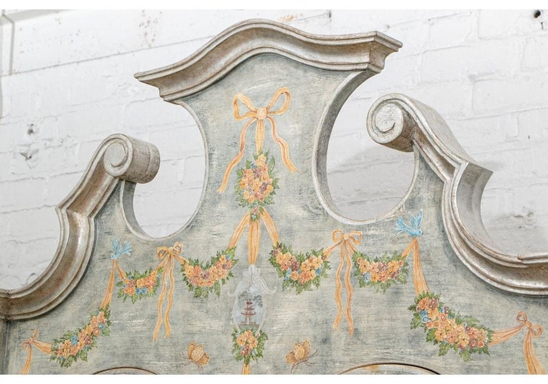 Astonishing Fine Paint Decorated Baroque Style Armoire Secretary For Sale 4