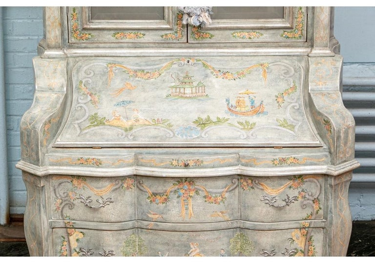 Astonishing Fine Paint Decorated Baroque Style Armoire Secretary For Sale 6