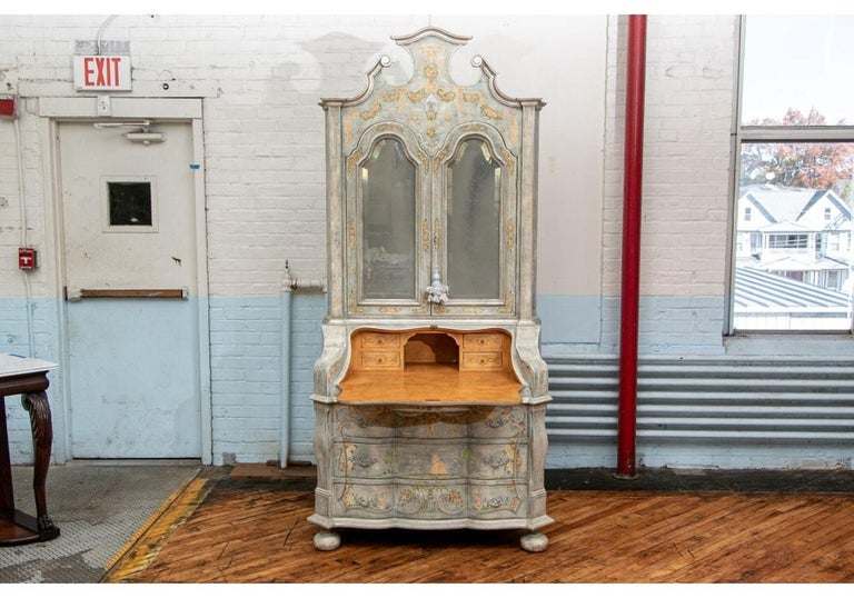 Astonishing Fine Paint Decorated Baroque Style Armoire Secretary For Sale 7