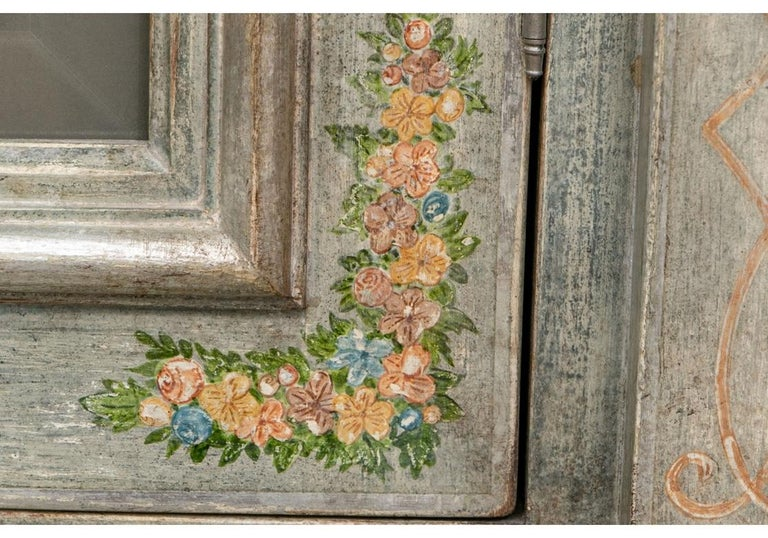 Astonishing Fine Paint Decorated Baroque Style Armoire Secretary For Sale 9
