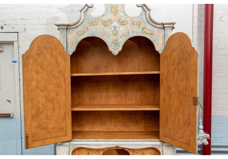 Astonishing Fine Paint Decorated Baroque Style Armoire Secretary For Sale 11