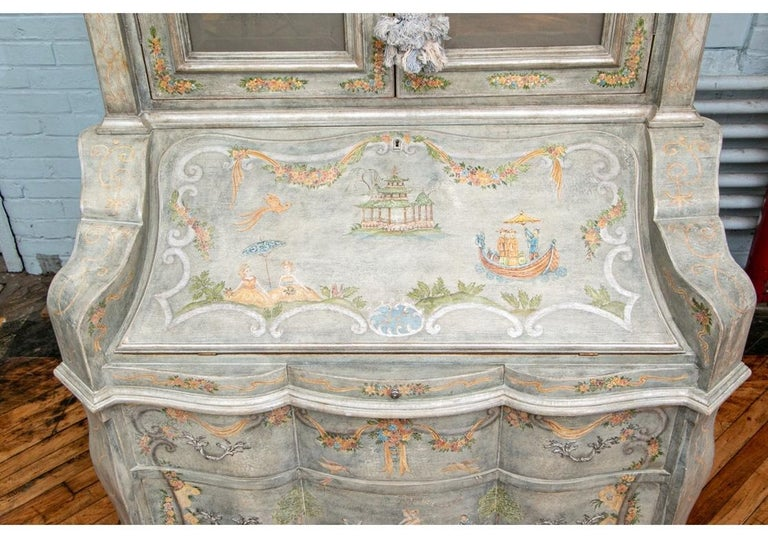 Hollywood Regency Astonishing Fine Paint Decorated Baroque Style Armoire Secretary For Sale