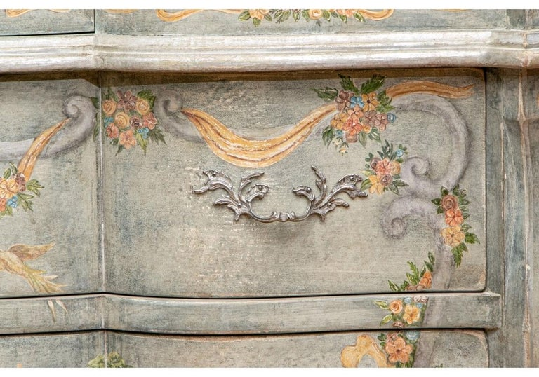 American Astonishing Fine Paint Decorated Baroque Style Armoire Secretary For Sale