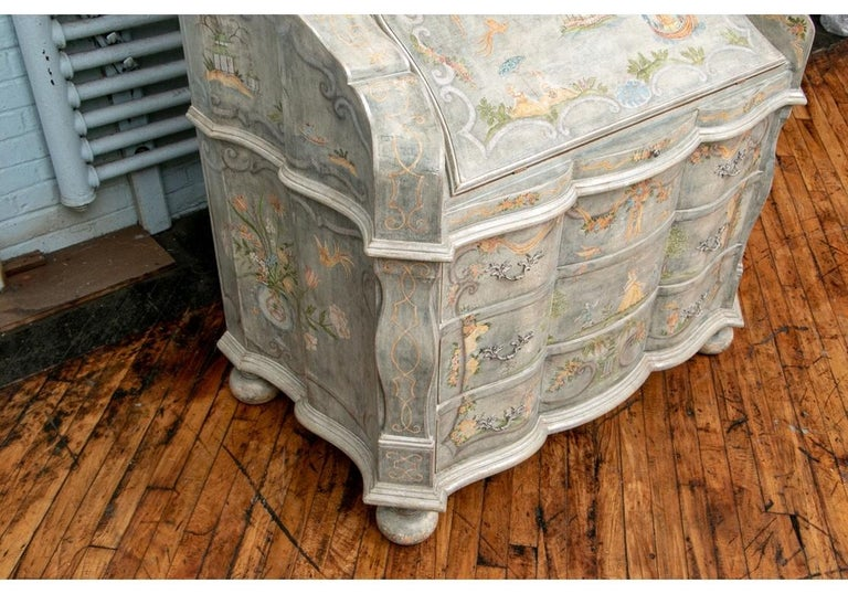 20th Century Astonishing Fine Paint Decorated Baroque Style Armoire Secretary For Sale