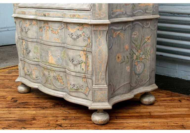 Astonishing Fine Paint Decorated Baroque Style Armoire Secretary For Sale 1