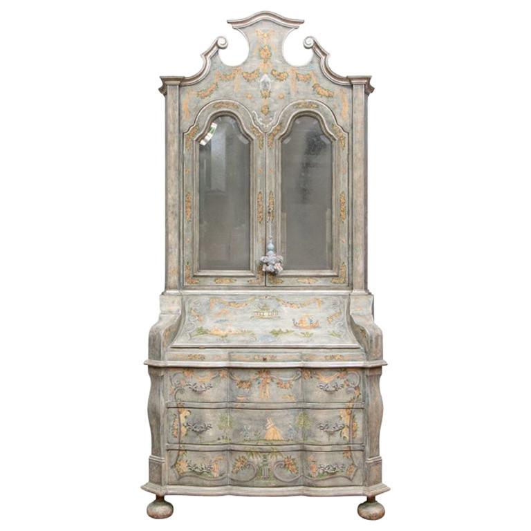Fine Paint Decorated Baroque Style Armoire Secretary/ Desk