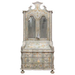 Fine Paint Decorated Baroque Style Armoire Secretary/ Desk