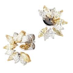 Astonishing Yellow Diamond White Diamond White 18K Gold Stud Earrings for Her