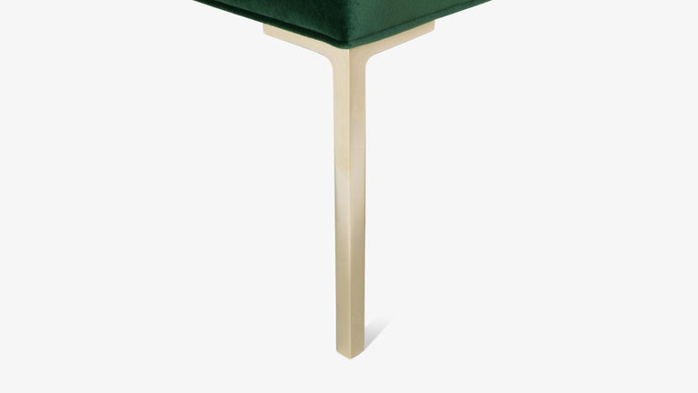 Astor Square Brass Ottomans In Emerald Velvet By Montage