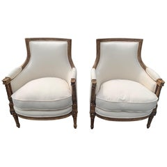Astounding Pair of Walnut and Newly Upholstered French Bergères Club Chairs