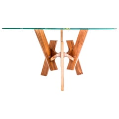 Contemporary Wood and Glass Center or Dining Table in Tzalam Wood