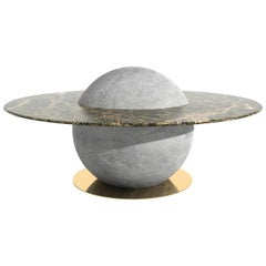 Astral Coffee Table by Marc Ange with Concrete Base and Round Green Marble Top
