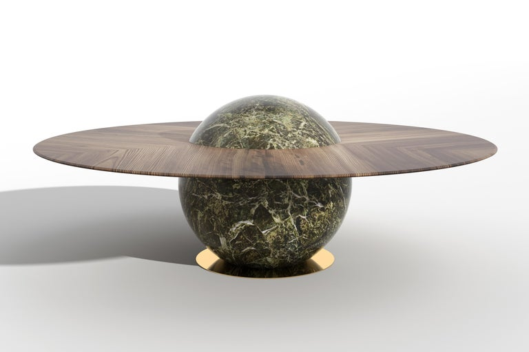 Astral Dining Table by Marc Ange with Green Marble Base and Solid Wood Top In New Condition For Sale In Paris, FR