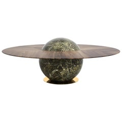 Astral Dining Table by Marc Ange with Green Marble Base and Solid Wood Top