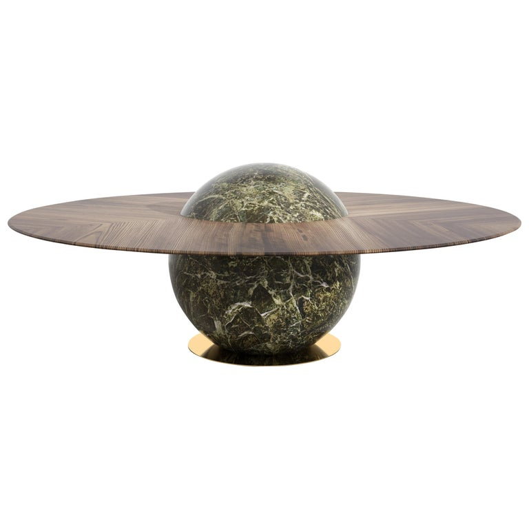 Astral Dining Table by Marc Ange with Green Marble Base and Solid Wood Top For Sale