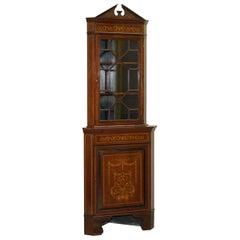Astral Glazed Antique Dutch Marquetry Inlaid Corner Bookcase Cupboard Sheraton