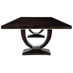 Davidson's Art Deco, Rectangular Grace Dining Table, High-Gloss Sycamore Black
