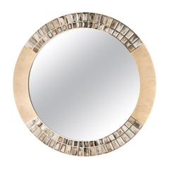 Astrid Mirror in 24k Gold-Plated Brass with Corno Italiano Gems, Mod. 1741