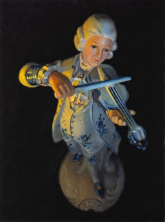 Silent Serenade- 21st Century Stlllife Painting of a Figurine playing Violin