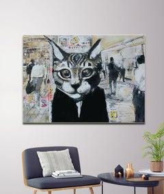 Fukushima Cat - Pop Art, Vogue Fashion, figurative, animal contemporary painting