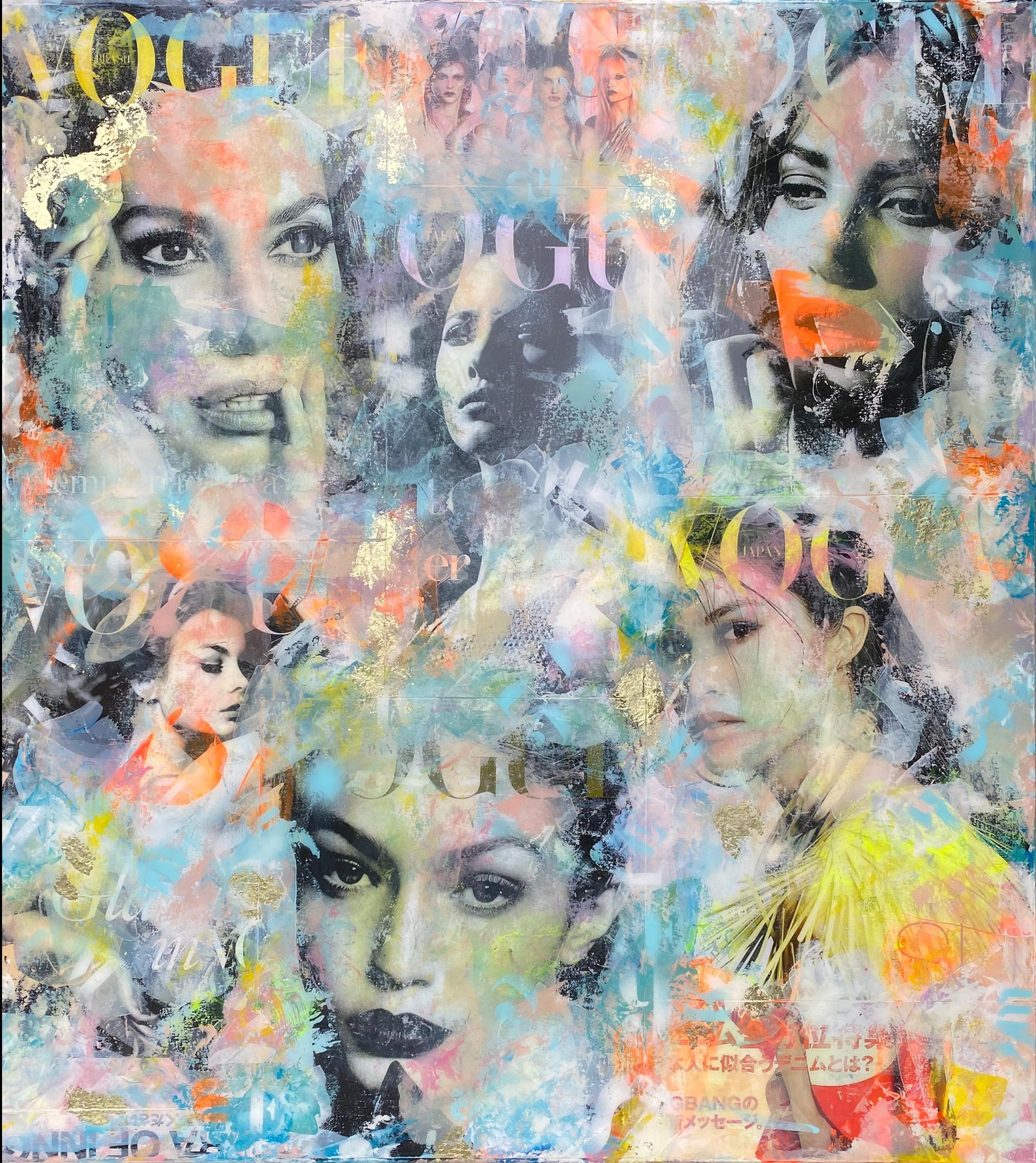 Gold Fashion - Vogue, Luxury, Contemporary Art, modern, Collage, Original