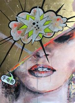 Gold Flash - Pop Art, Vogue Fashion, figurative contemporary painting