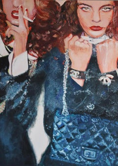 Le Rich Kitch -Pop Art, Vogue Fashion, figurative painting in black, red