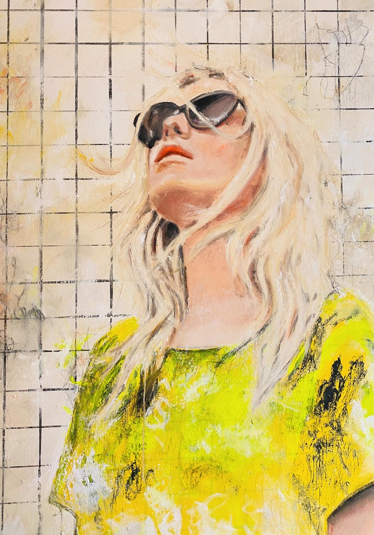 Astrid Stöfhas Figurative Painting - OT - Portrait, Woman, Summer, Fashion, 21stC, yellow, Contemporary Art, modern