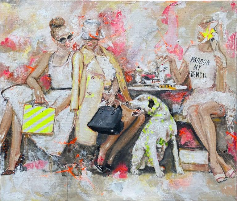 Astrid Stöfhas Portrait Painting - Pardon - Portrait, Woman, Fashion, 21stC, yellow, Contemporary Art, modern art