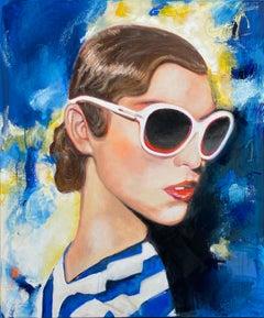 Pariser Blau - Paris, Blue, Portrait, Woman, Sunglasses, Summer, Fashion, 21stC