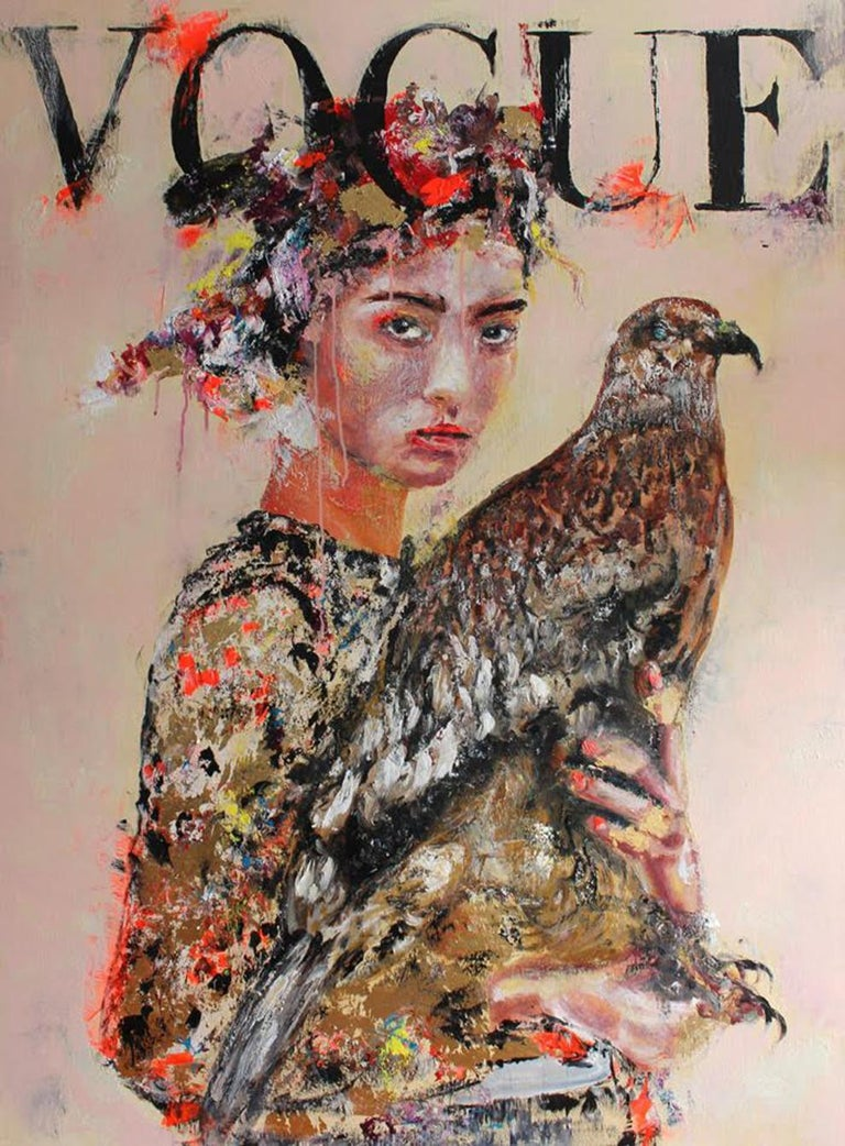 Astrid Stöfhas Figurative Painting - The Falcon Hairstyle Portrait - Vogue Fashion inspired figurative painting