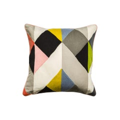 Astro Confetti Embroidered Wool Pillow Cushion in Multicoloured Geometric Print