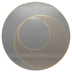 Astro Mirror with Frame in Brushed Brass Color with Bronze and Natural Mirrors