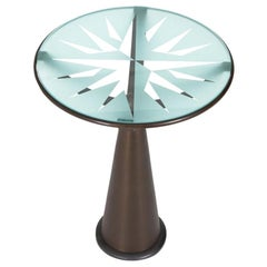 In stock in Los Angeles, Astrolabio Glass Table by Oscar Tusquets, Made in Italy