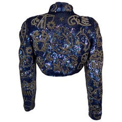 Astrology Themed Blue Sequin and Silver Beaded Bolero Jacket North Beach Leather