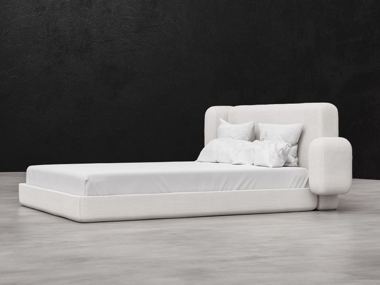 American ASYM Bed, Modern Asymmetrical Bed in Cream Boucle For Sale