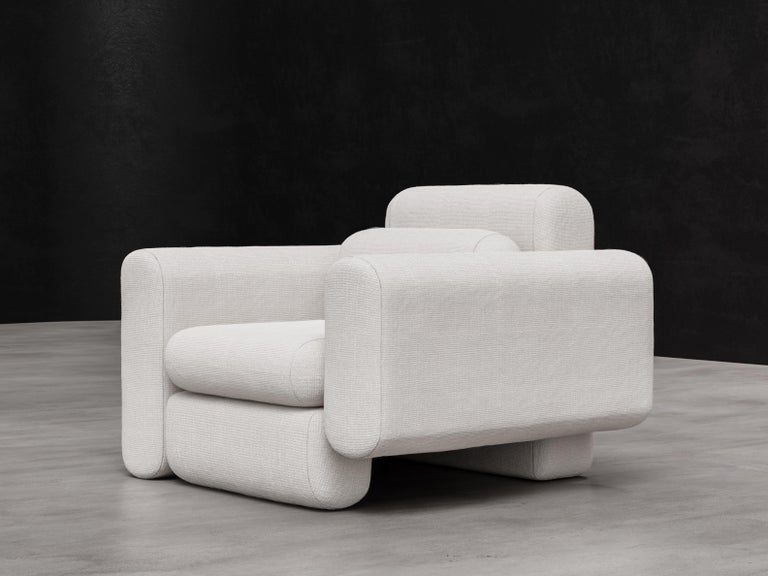 American Asym Chair, Modern Asymmetrical Sectional Chair in Cream Boucle For Sale