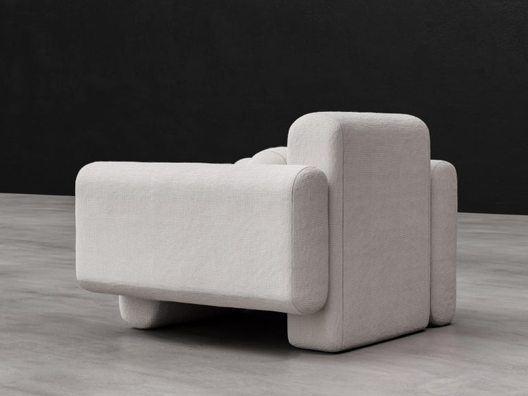 Asym Chair, Modern Asymmetrical Sectional Chair in Cream Boucle In New Condition For Sale In Laguna Niguel, CA